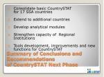 summary of conclusions and recommendations of countrystat next phase
