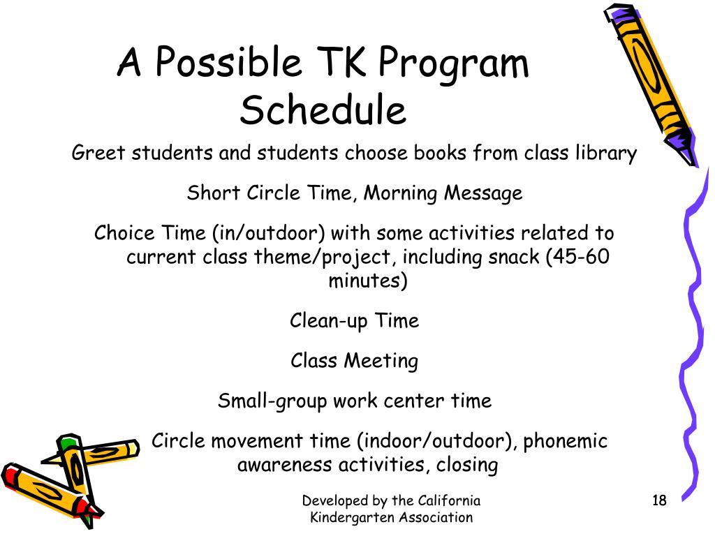 a possible tk program schedule l - California Kindergarten Age