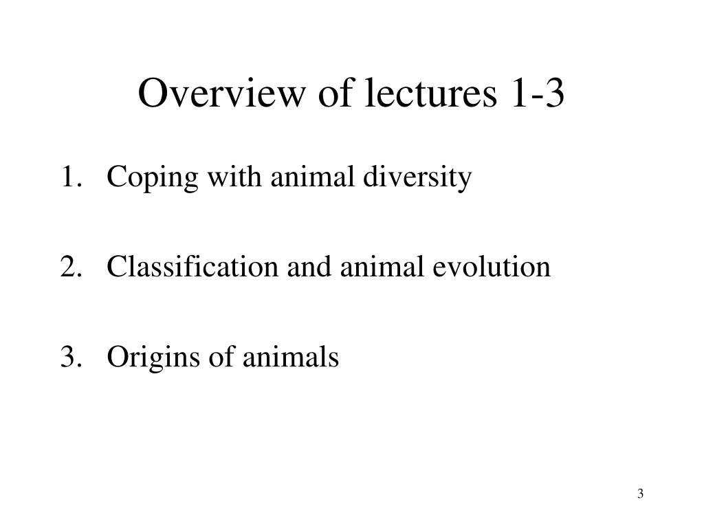 Overview of lectures 1-3