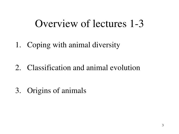 Overview of lectures 1 3