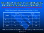 frecuencia de dificultad respiratoria en mujeres embarazadas diab ticas