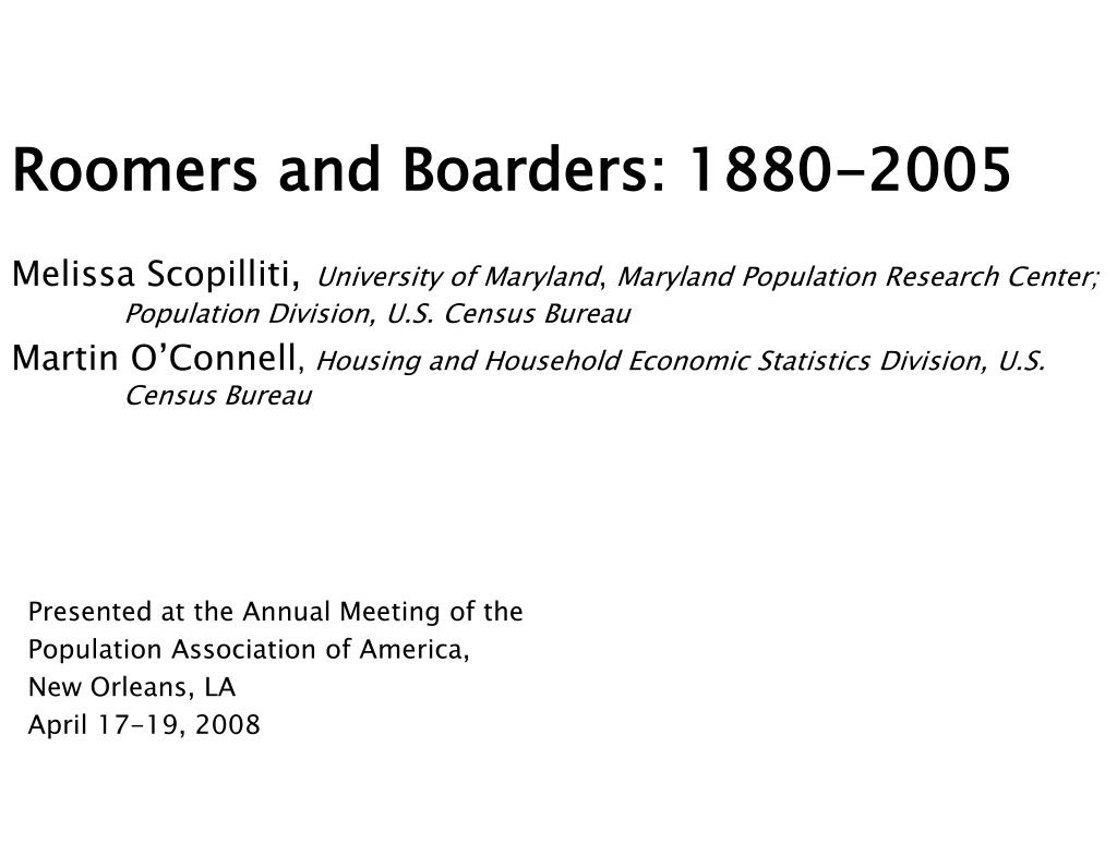 roomers and boarders 1880 2005 l.