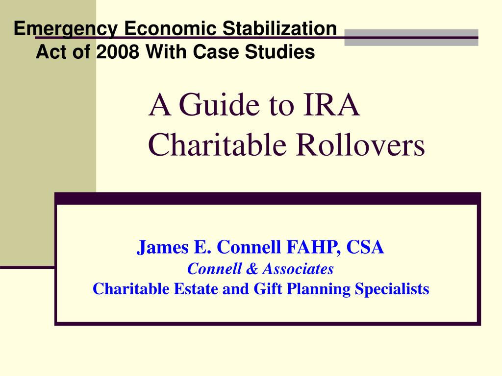 a guide to ira charitable rollovers l.