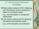 2 1 use of covert and overt messages