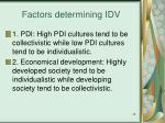factors determining idv
