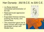 han dynasty 202 b c e to 220 c e