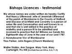 bishops licences testimonial