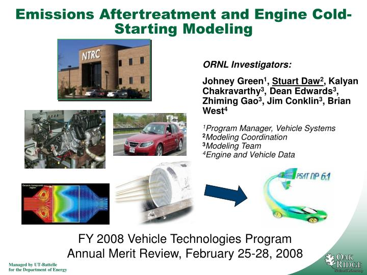 Emissions aftertreatment and engine cold starting modeling