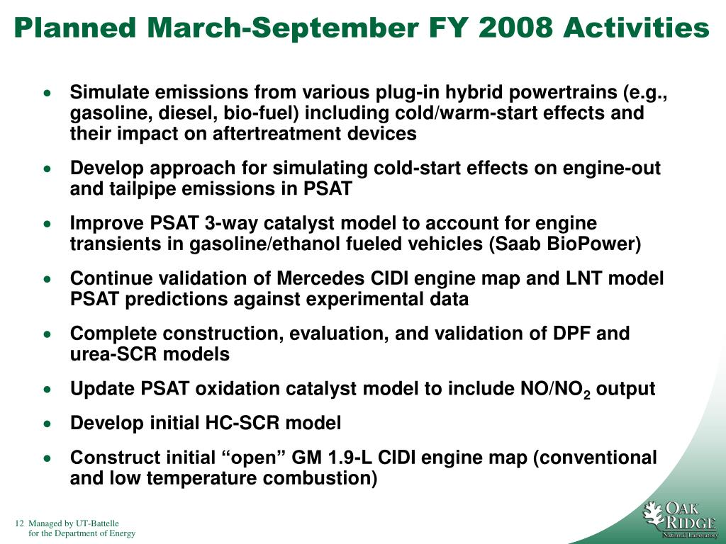 Planned March-September FY 2008 Activities
