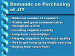 demands on purchasing of jit