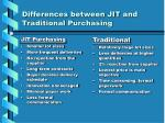 differences between jit and traditional purchasing