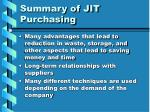 summary of jit purchasing