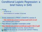 conditional logistic regression a brief history in sas