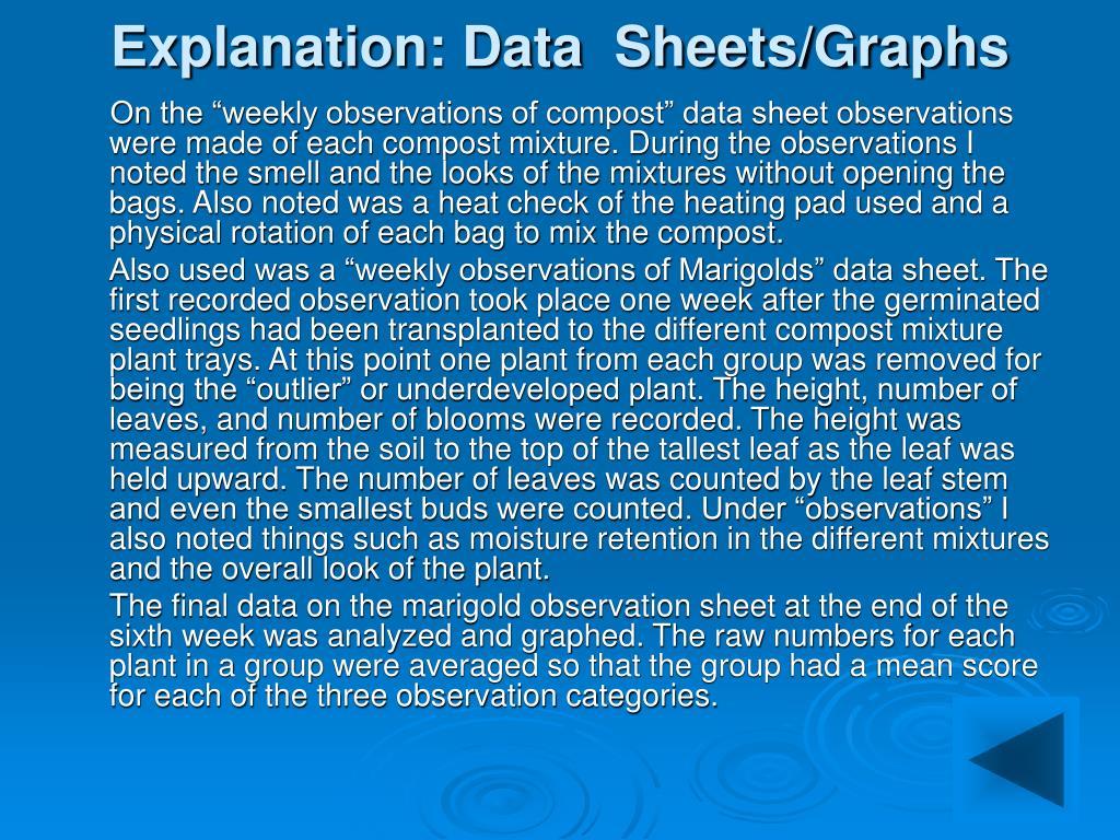 Explanation: Data  Sheets/Graphs