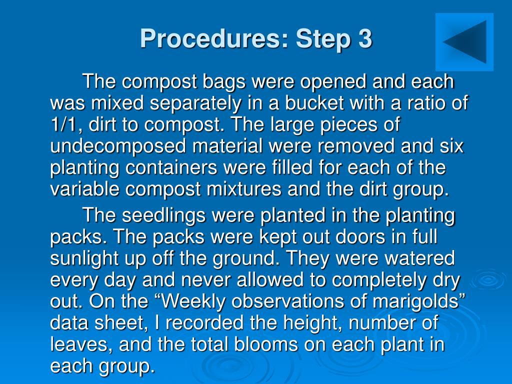 Procedures: Step 3