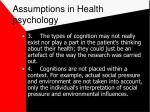 assumptions in health psychology80