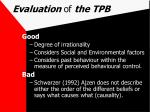 evaluation of the tpb