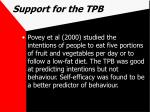 support for the tpb