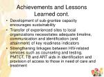 achievements and lessons learned cont