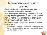achievements and lessons learned