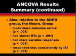 ancova results summary continued