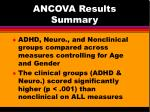 ancova results summary