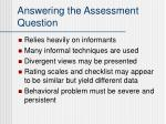 answering the assessment question