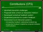 contributions cfs
