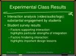 experimental class results