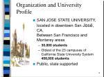 organization and university profile