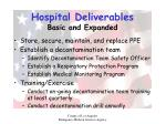 hospital deliverables basic and expanded
