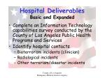 hospital deliverables basic and expanded24