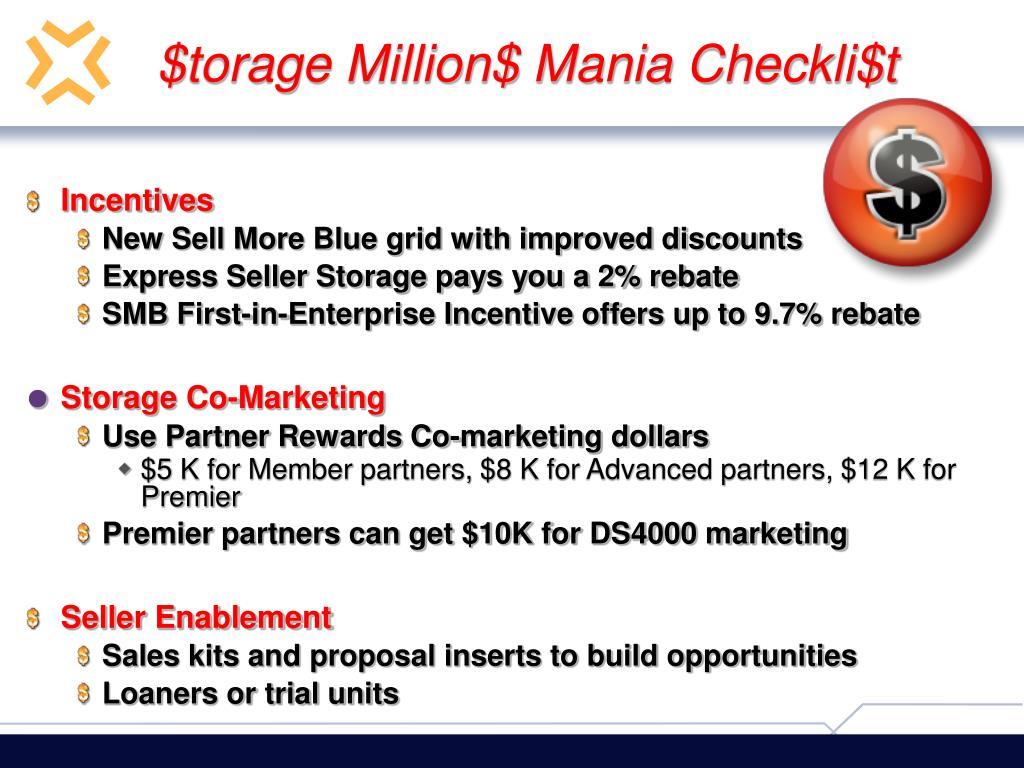 $torage Million$ Mania Checkli$t