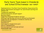 early years team based in standards and school effectiveness our remit