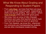 what we know about grading and responding to student papers