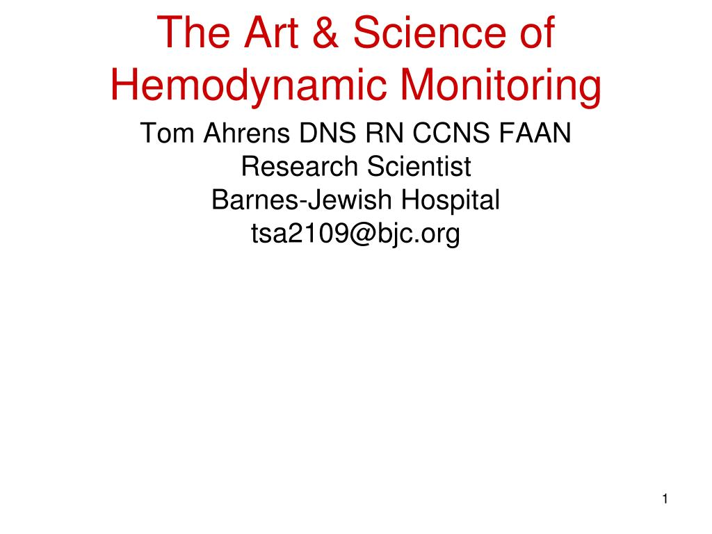 the art science of hemodynamic monitoring l.