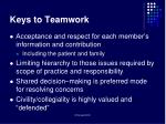 keys to teamwork