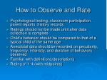how to observe and rate