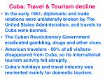 cuba travel tourism decline