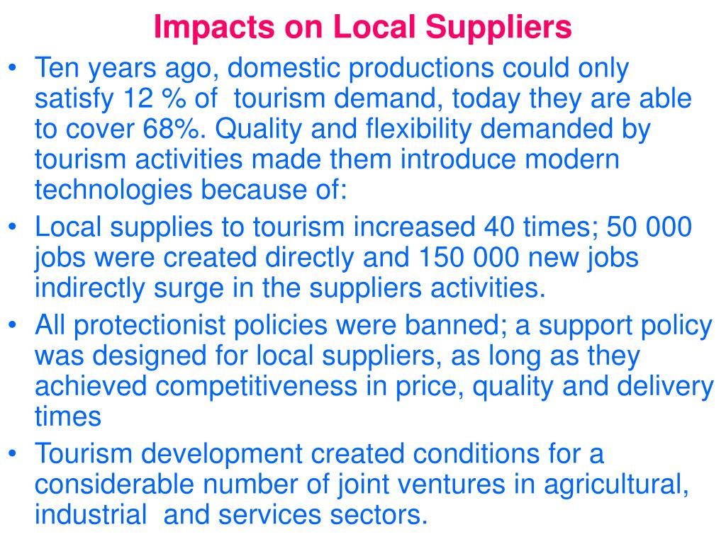Impacts on Local Suppliers