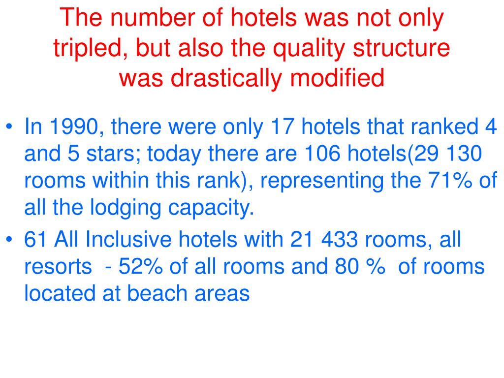 The number of hotels was not only tripled, but also the quality structure was drastically