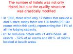 the number of hotels was not only tripled but also the quality structure was drastically modified