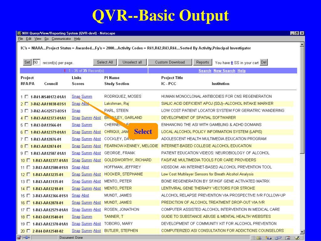 QVR--Basic Output