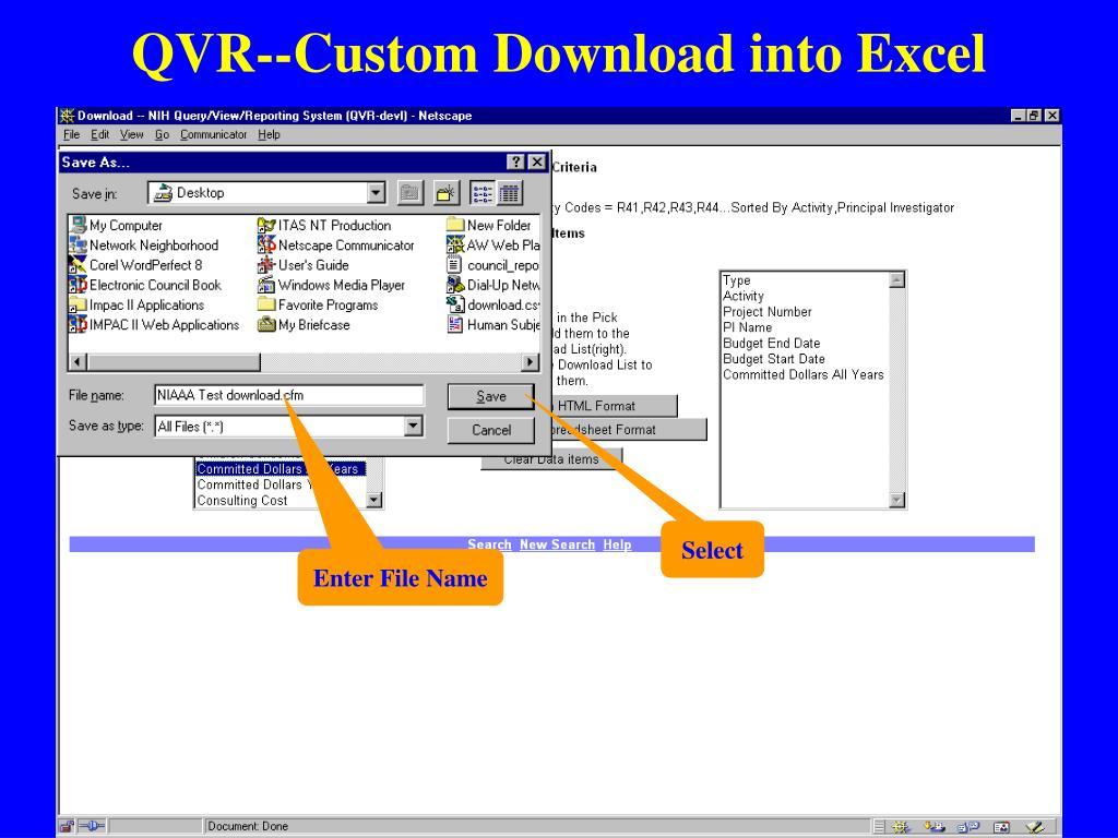 QVR--Custom Download into Excel