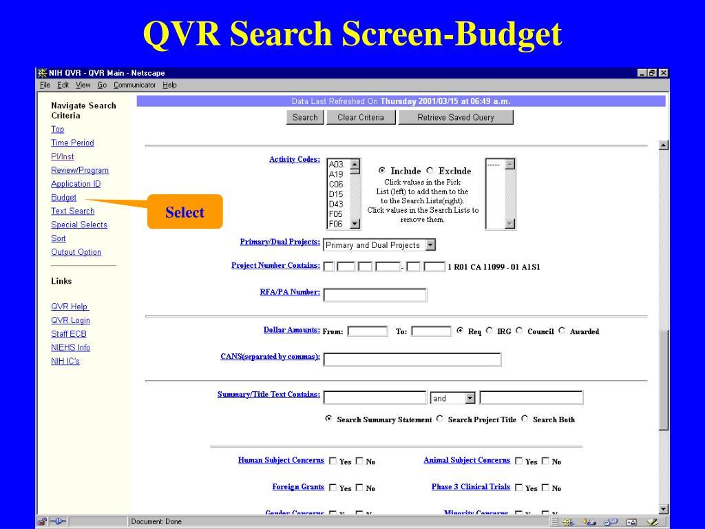 QVR Search Screen-Budget
