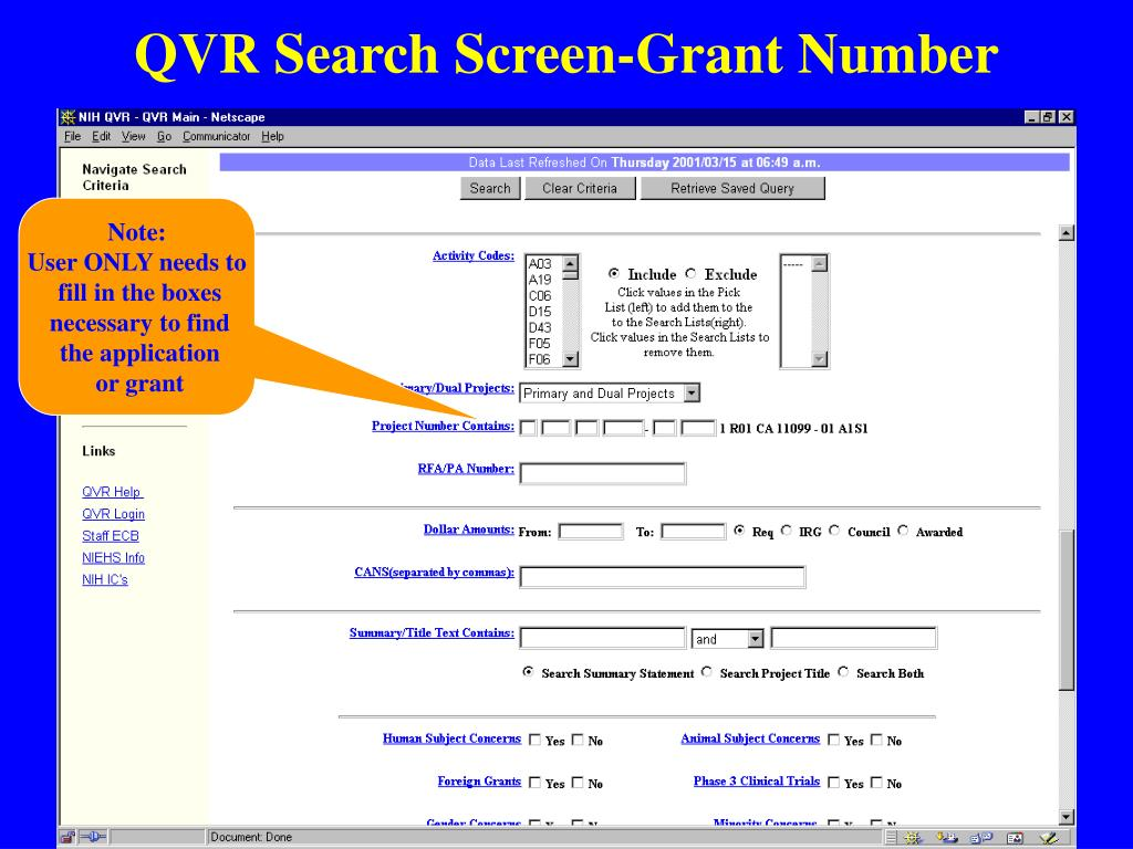 QVR Search Screen-Grant Number