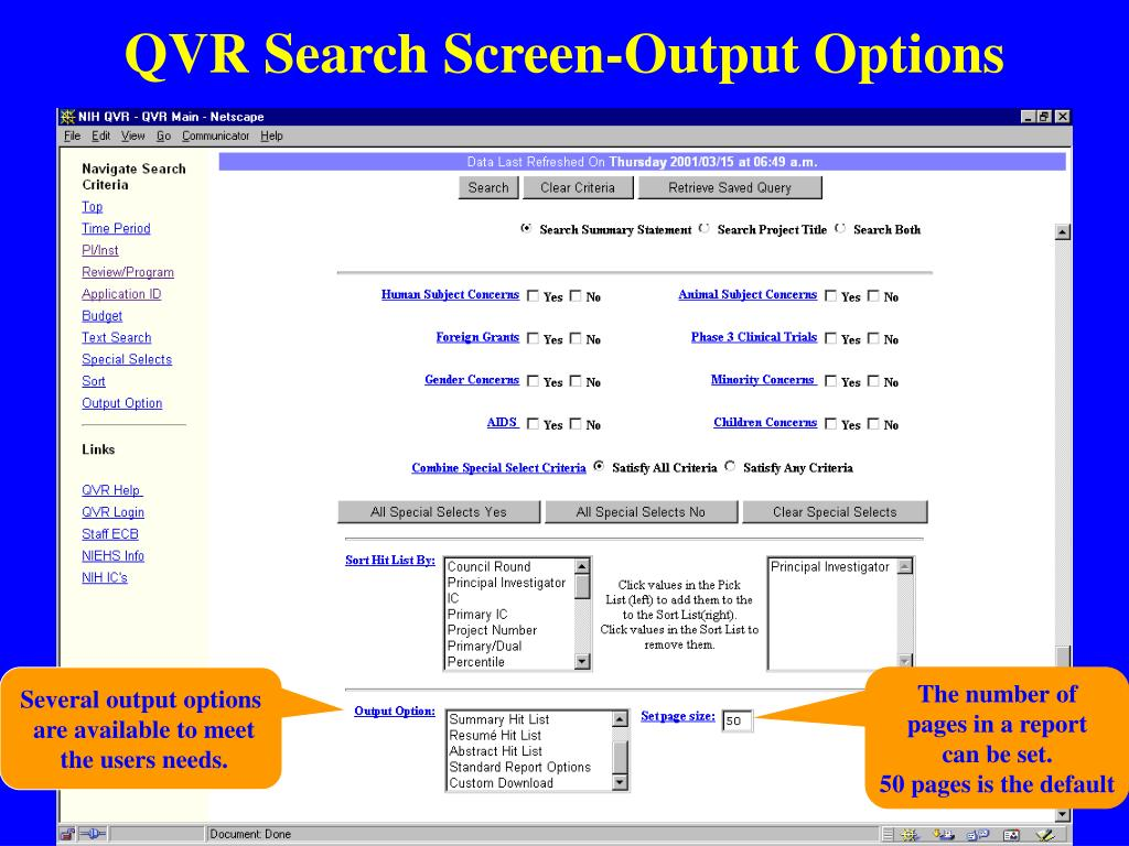 QVR Search Screen-Output Options