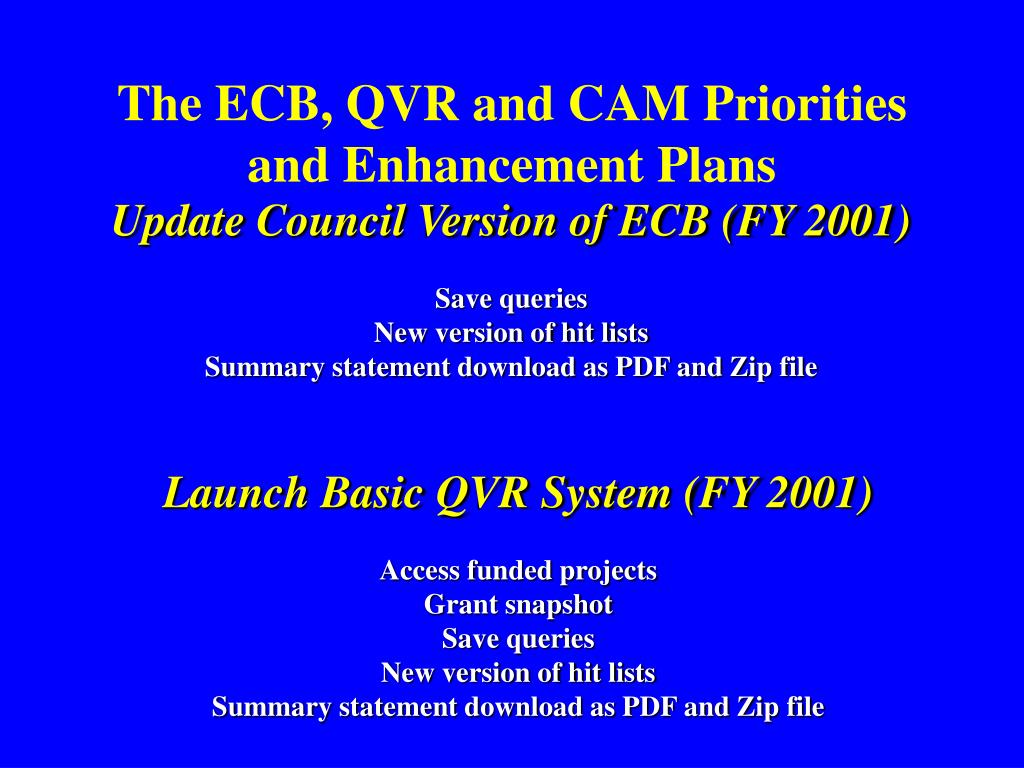 The ECB, QVR and CAM Priorities and Enhancement Plans