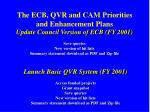 the ecb qvr and cam priorities and enhancement plans