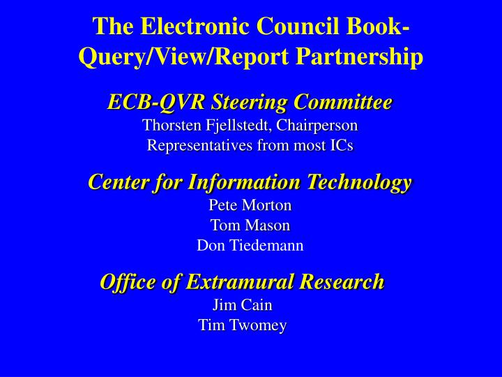 The electronic council book query view report partnership